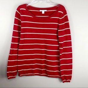 Banana Republic Red Striped Crew Neck Sweater